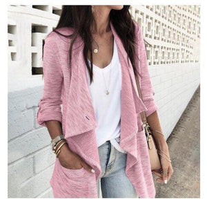 Fashion Lapel Collar Plain Loose Long Cardigan
