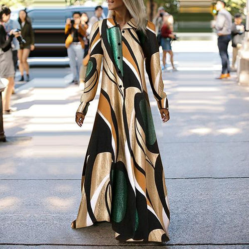 Fashion Printed Lapel Long Sleeve Maxi Dress