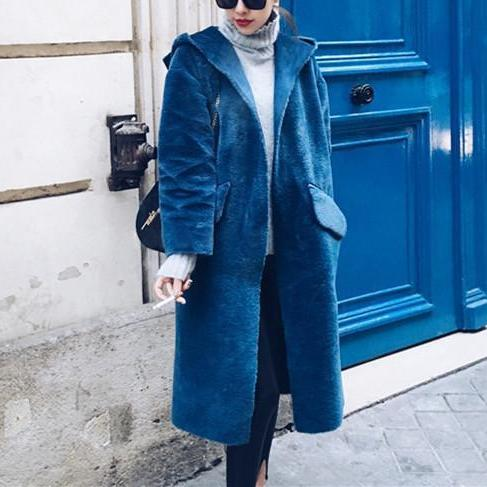 Fashion Autumn And Winter Loose Deerskin Cap Warm Coat