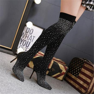 Elegant Fashion Paillette Thermal High Sock Tube Boots