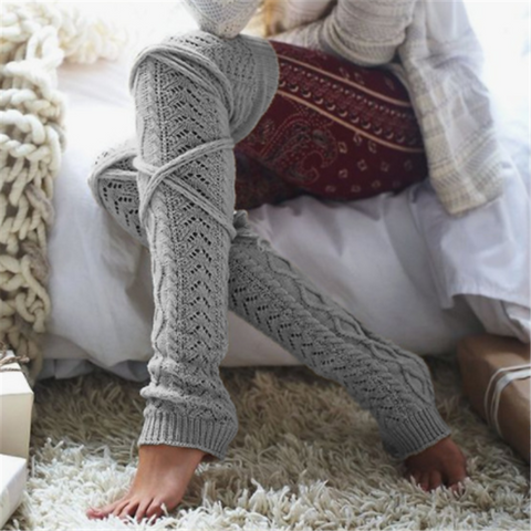Fashion Knit Tube Over The Knee Wool Socks