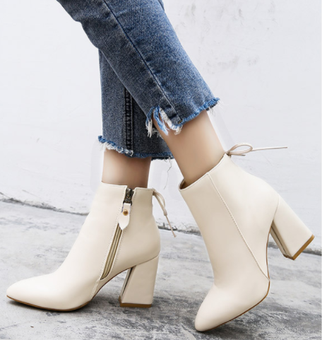 Fashion Thick With Pointed Toe In Martin Boots