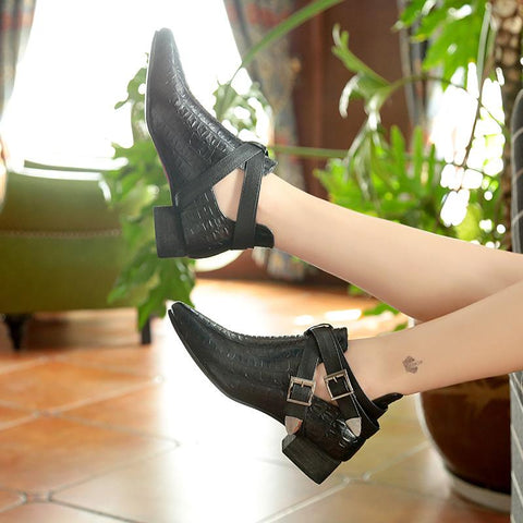 Fashion Pointed   Toes Low-Heeled Metal Belt Buckle Boots