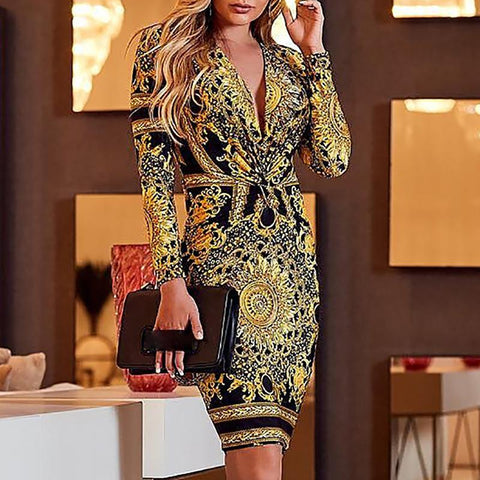 Sexy Printed Colourdeep V Long Sleeve Bodycon Dresses