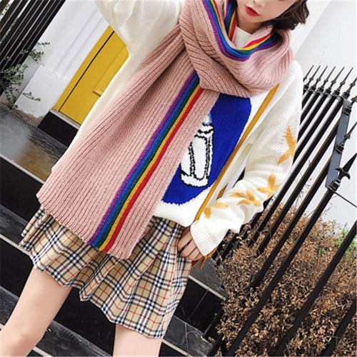 Christmas Gift Thickened Warm Rainbow Striped Knitted Scarf Shawl