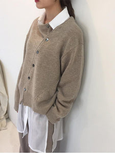 Fashion Irregular Knitwear Slanting Buckle Cardigan