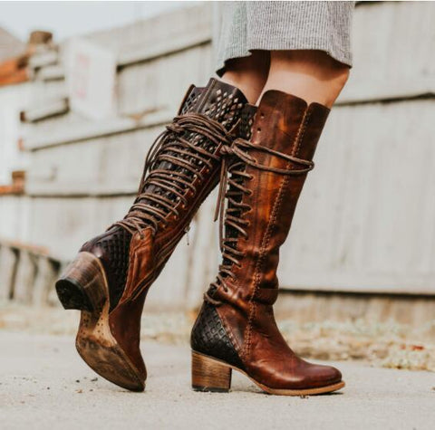 Vintage Fashion Side High Heel Cross Strap PU High Boots