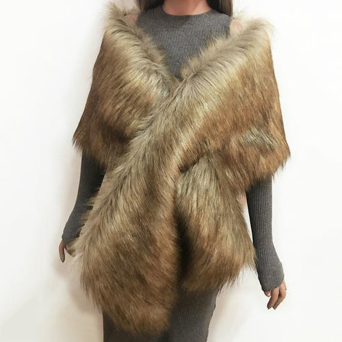 Pure Color Faux Fur Dress With Large Shawl Scarf