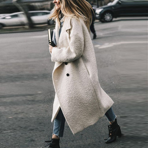 Winter Wool Blends Coat Women Long Slim Thicken Warm Coat