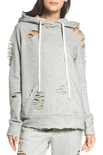 Fashion Casual Pure  Color Personality Holes Do Old Designs Hoodies