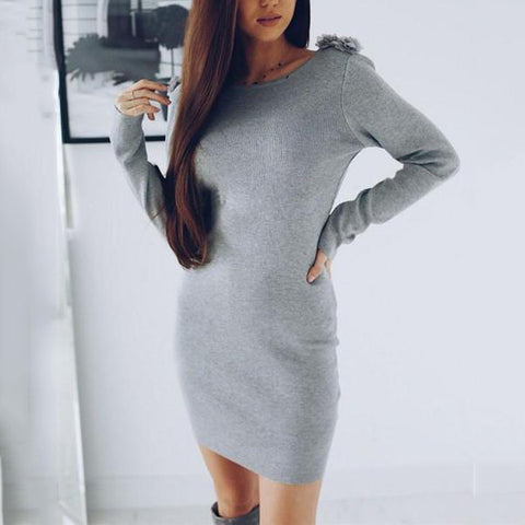 Fashion Casual Pure Color Sexy Slap-Back Slimming Mini Bodycon Dress