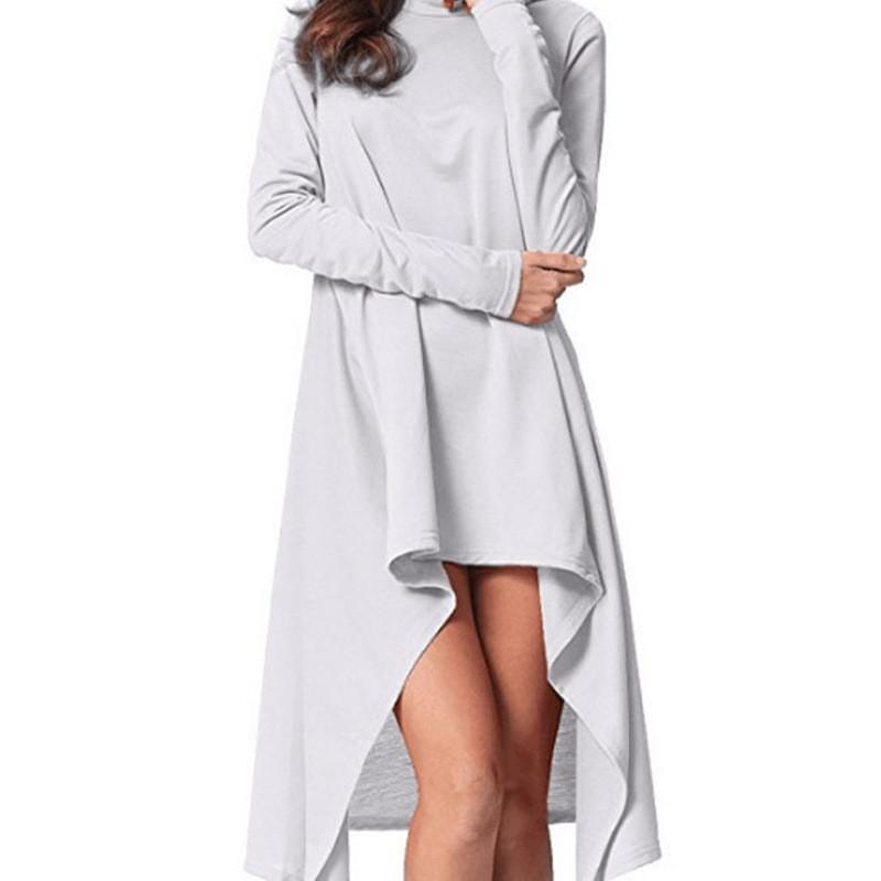 Casual Sexy Pure Color Baggy Irregular Sweatshirt And Hooded Mini Dress