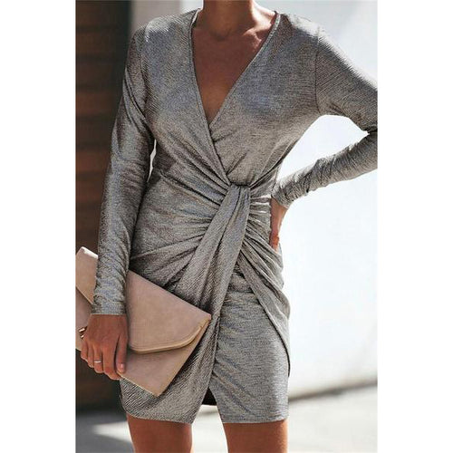 Casual Sexy Pure Color Slim V-Neck Drape Wrap Hip Mini Dress