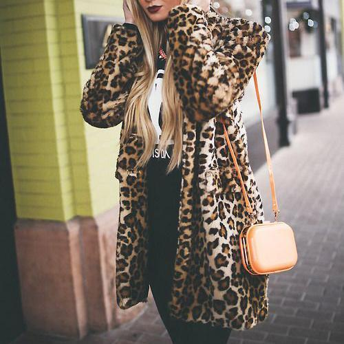 Casual Fashion Stand Collar Shoulder Padded Leopard Printed Long Coat