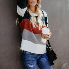 Fashionable Color Matching Patchwork Striped Sweater