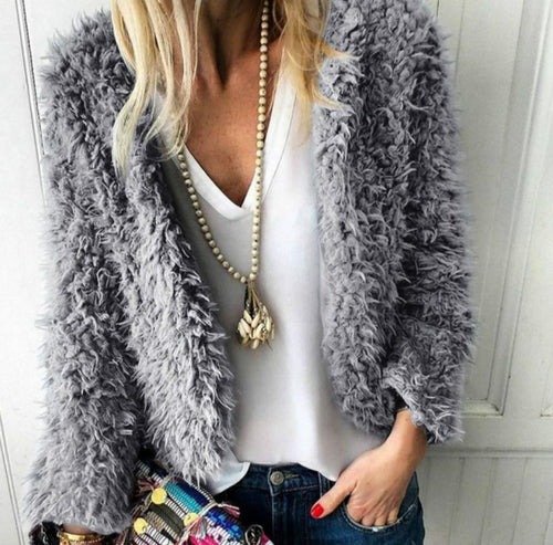 Casual Warm Long Sleeve Plush Short Cardigan