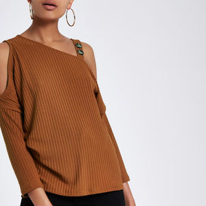 Fashion Pure Colour Off-Shoulder Bat Sleeve Knitwear