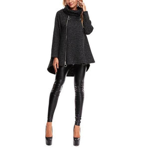 Casual Loose Medium Long Zipper Woollen Sweater