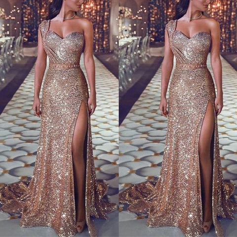 Sexy One Shoulder  Sequined Dress