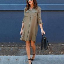 Fashion Simple Chiffon Front Short Back Long Shirt Mini Dress