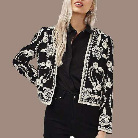 Fashion Long Sleeve   Floral Pattern Coat