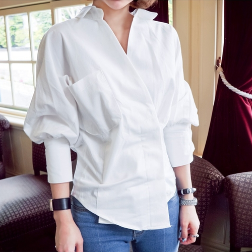 Casual Pure Colour Bishop Sleeve Waist Shirt