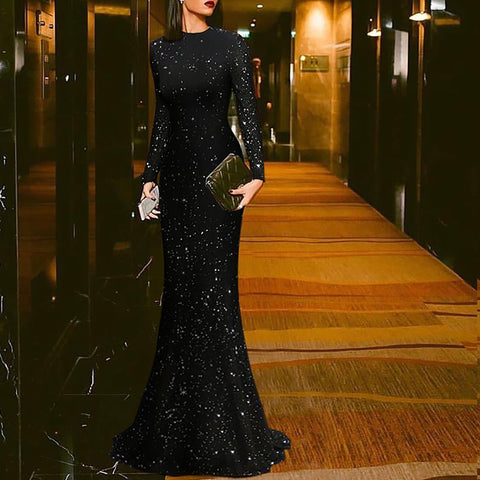 Elegant Black Round Neck Evening Dress