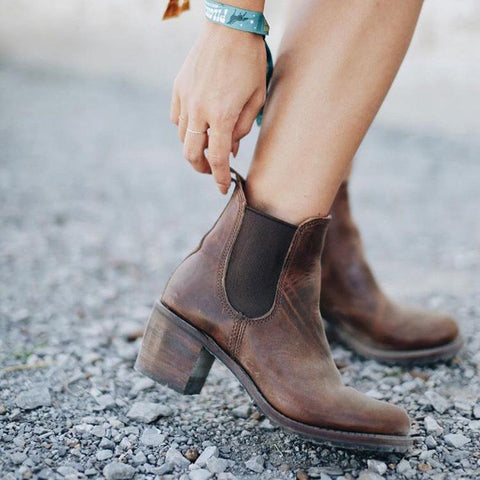 Stylish Leather High Heel Boots