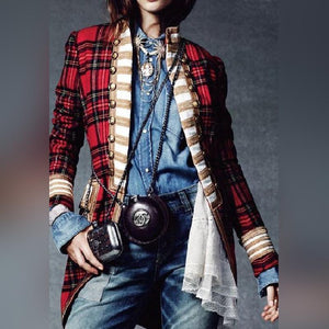 Fashion Long Sleeve Plaid Splicing Coat