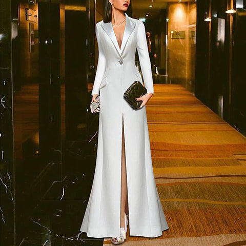 White Suit Evening Dress