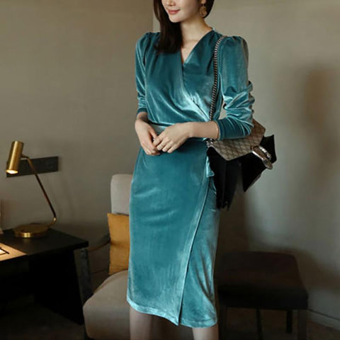Fashion Velvet Pure Colour Long Sleeve Slim Bodycon Dresses