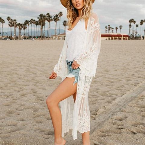 Vacation Sandbeach   Bikini Sexy Lace Loose Sunscreen Cardigan