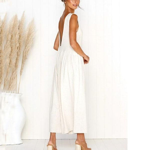 Fashion Sleeveless Backless Nine Points Straight Jumpsuit