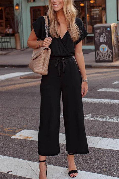 V-Neck Lace-Up Jumpsuit