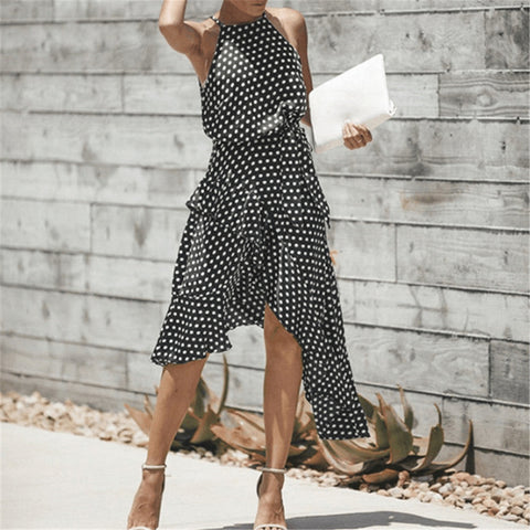 Fashion Wave Point Irregular Figure Dress
