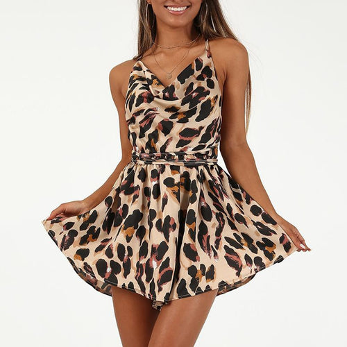 Fashion Sexy Leopard Print Casual Rompers