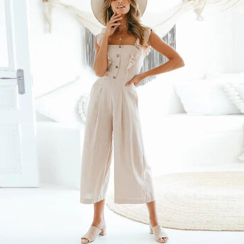 Casual Sexy Braces   Button Wide Leg Jumpsuit
