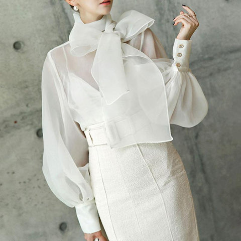 Sexy Bishop Sleeve Bow Belted Organza Shirt