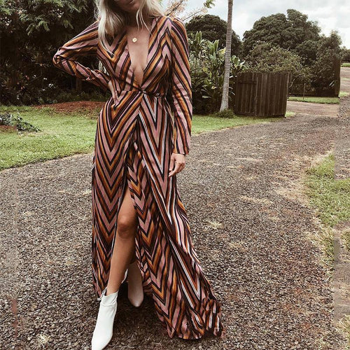 Fashion V Neck Belted Striped Printed Colour Maxi Dresses