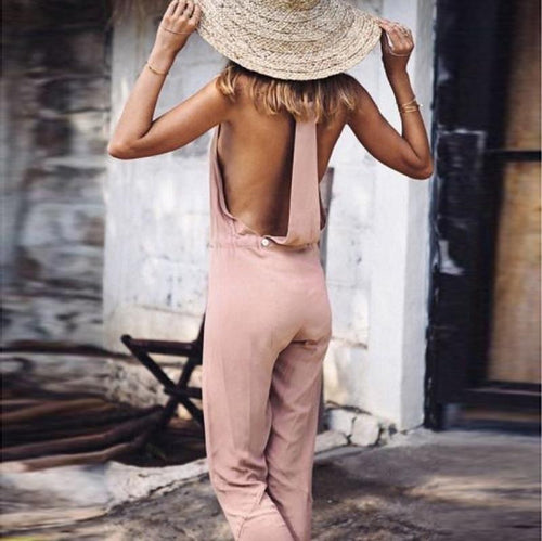 Casual Sexy Deep V   Neck Backless Pure Color Sling Jumpsuit