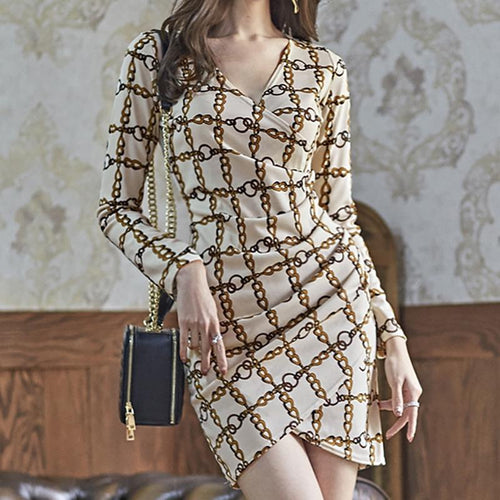 Casual Sexy Deep V   Neck Long Sleeve Chain Printing Mini Dresses