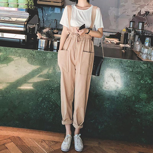 Casual Loose Frenulum   Slim Show Thin Pure Color Sling Jumpsuit