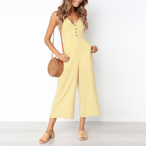 Casual Sexy V Neck   Sling Strips Wide Leg Jumpsuit