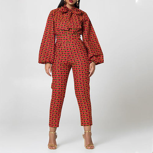 Fashion Printed Colour Long Sleeve Bow Jumpsuits