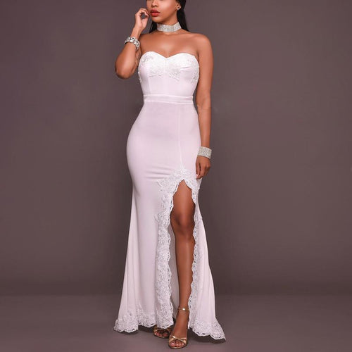 Casual Sexy Off The   Shoulder Chest Wrapped Maxi Dresses
