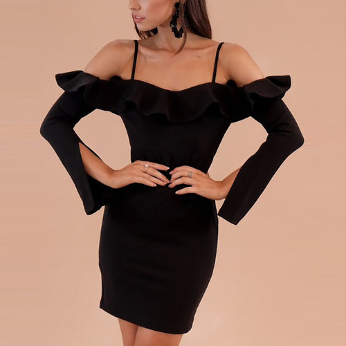 Casual Sexy Off   The Shoulder Falbala Boat Neck Sling Mini Dresses