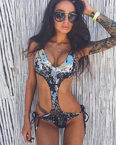 Spaghetti Strap  Lace-Up  Glitter  Tie/Dye One Piece