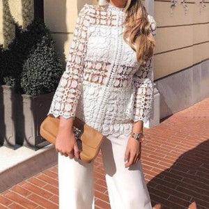 Commuting Hollow Out Bell Sleeve See-Through Blouse