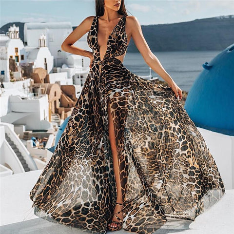 Deep V Leopard Print Sleeveless Long Dress
