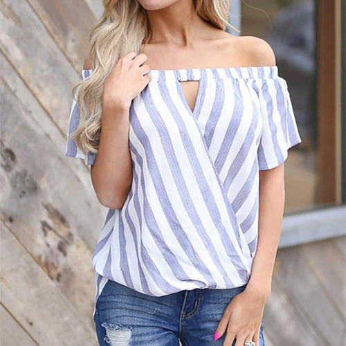 Female Striped Short-Sleeved Word Collar Loose Cross Shirt